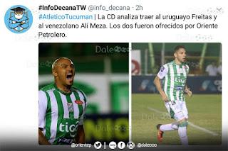 Maximiliano Freitas y José Alí Meza ofrecidos a Atlético Tucumán