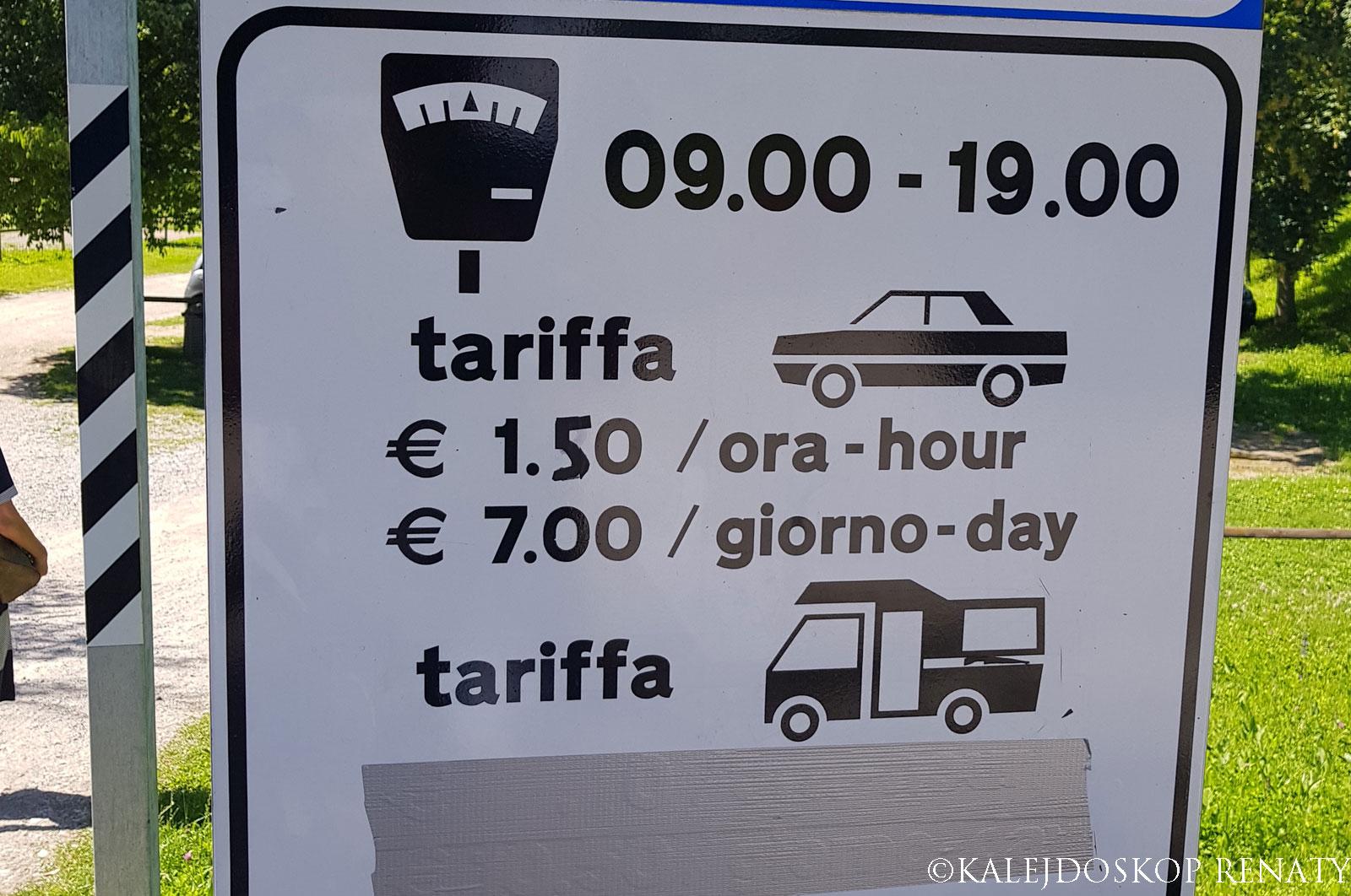 parking nad jeziorem Tenno, cenna parkingów koło jeziora Tenno