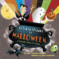 Book cover for Shivery Shades of Halloween: A Spooky Book of Colors with a large cauldron filled with a vampire and ghost holding a jack-o-lantern with a rainbow of colors in background