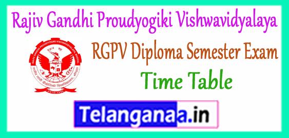 RGPV Rajiv Gandhi Proudyogiki Vishwavidyalaya Diploma 1st 3rd 5th Semester Time Table 2017-18