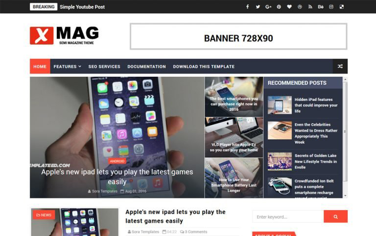 X Mag Responsive Blogger Template