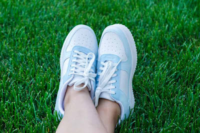 custom painted blue and white shoes