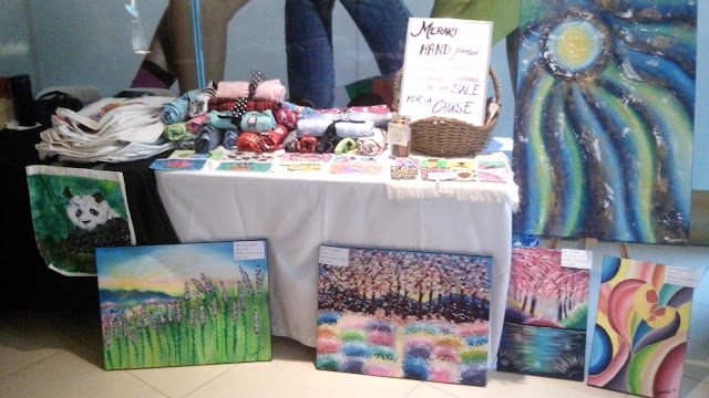 Meraki hand-painted tote bags, pouches, coin purses, paintings, etc. for sale for a cause.