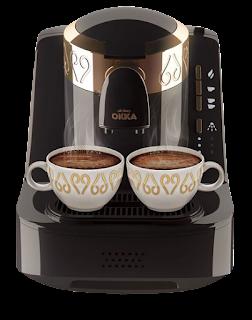 ماكينة تحضير القهوة التركي اوتوماتيك من اوكا OK001B ، ذهبي واسود