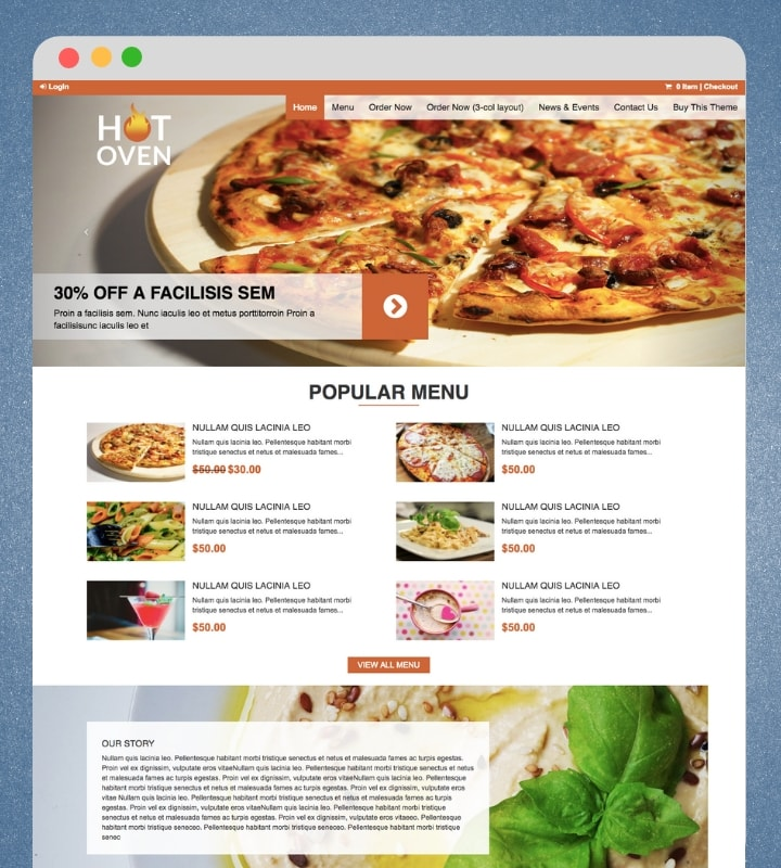 Hot Oven (Restaurant Theme with Menu & Online Ordering)