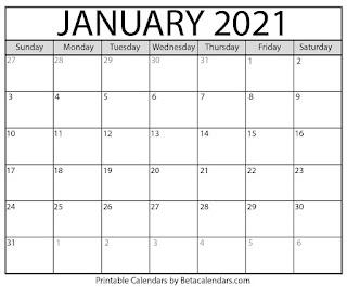 Free Printable Calendar January 2021
