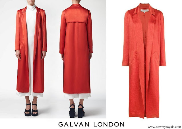 Princess Eugenie wore Galvan London Sun Textured Crepe Coat in Red