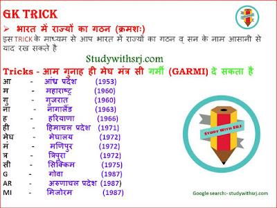 भारत में राज्यों का गठन क्रम (Formation of States in India) G.K Tricks