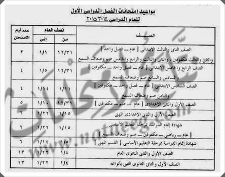 مواعيد، جداول امتحانات الصف الاول والثانى الثانوى محافظة الجيزه 2015 بالصور