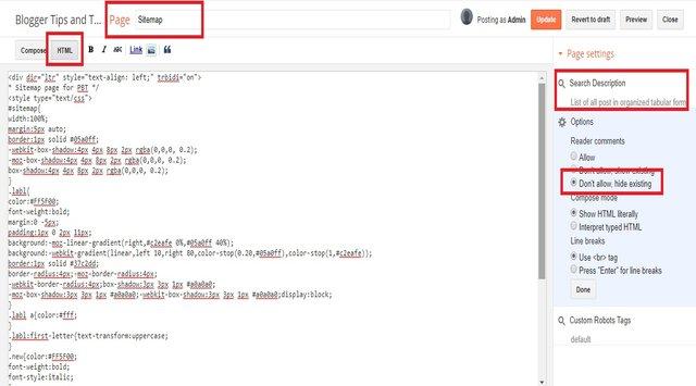 HTML sitemap for Blogger