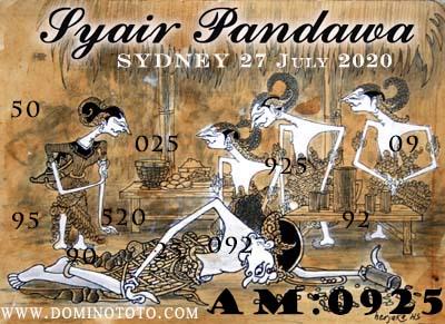 syair sydney pandawa 27 juli 2020