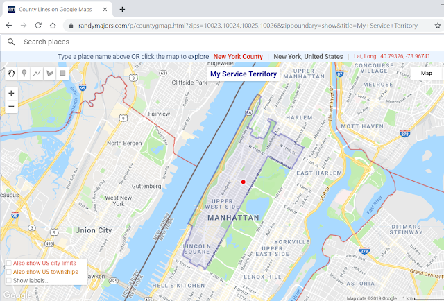 Create a custom County Lines map or ZIP Code-based Sales/Service/Delivery Territory map on the fly, overlaid on Google Maps
