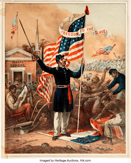 Full-colored lithograph: Colored Troop Recruiting Handbill.