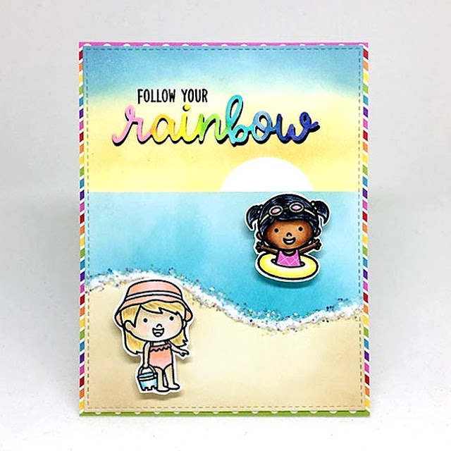 Sunny Studio Stamps: Coastal Cuties Rainbow Word Die Customer Card by Kari V