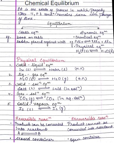 रसायन विज्ञान चैप्टरवाइज नोट्स (Chemical Equilibrium) : JEE and NEET परीक्षा हेतु पीडीएफ पुस्तक | Chemistry Chapterwise Notes (Chemical Equilibrium) : For JEE and NEET Exam PDF Book