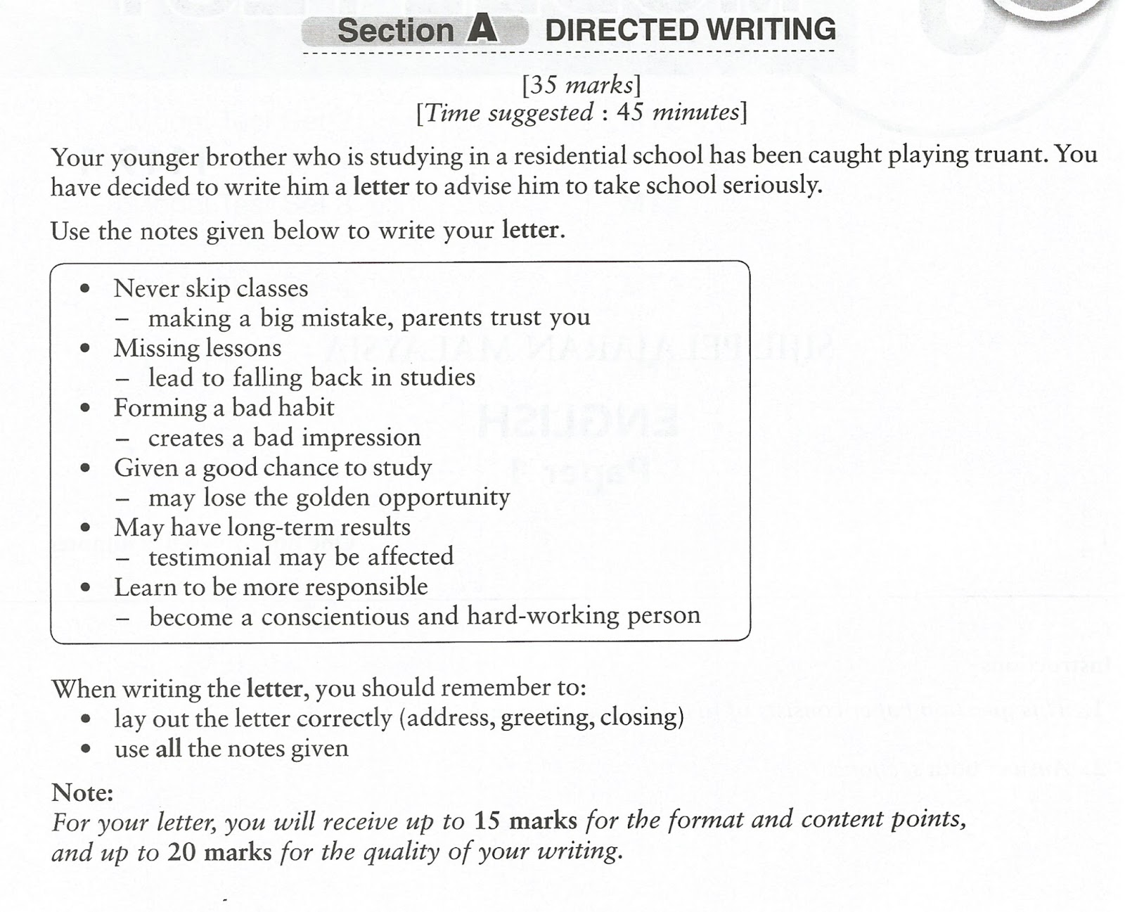 spm english essay informal letter Example of informal letter for student spm spm essay directed writing year 2011/ 2012 informal letters writing and informal letter sub:english.