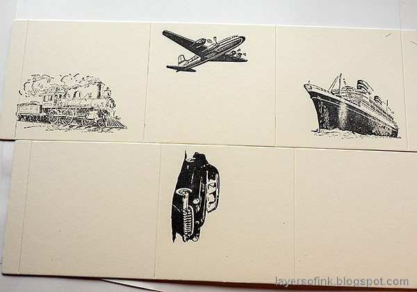 Layers of ink - Vintage Transportation Box Tutorial by Anna-Karin Evaldsson. Stamp the vintage vehicles.