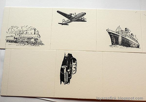 Layers of ink - Vintage Transportation Box Tutorial by Anna-Karin Evaldsson. Stamp the vintage vehicles.