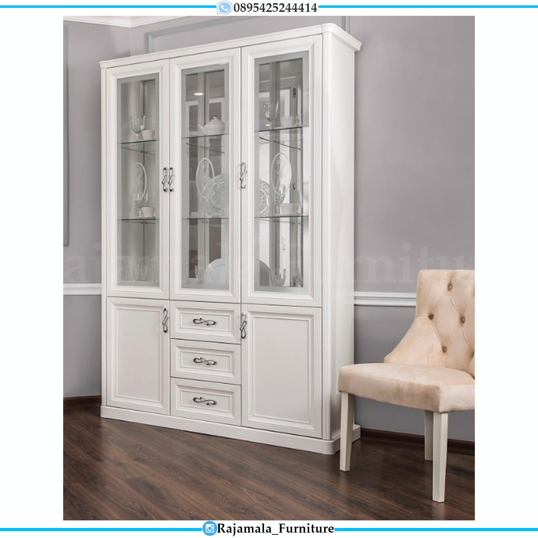 Desain Lemari Hias Minimalis Kaca Putih Duco Luxury Furniture Jepara RM-0178