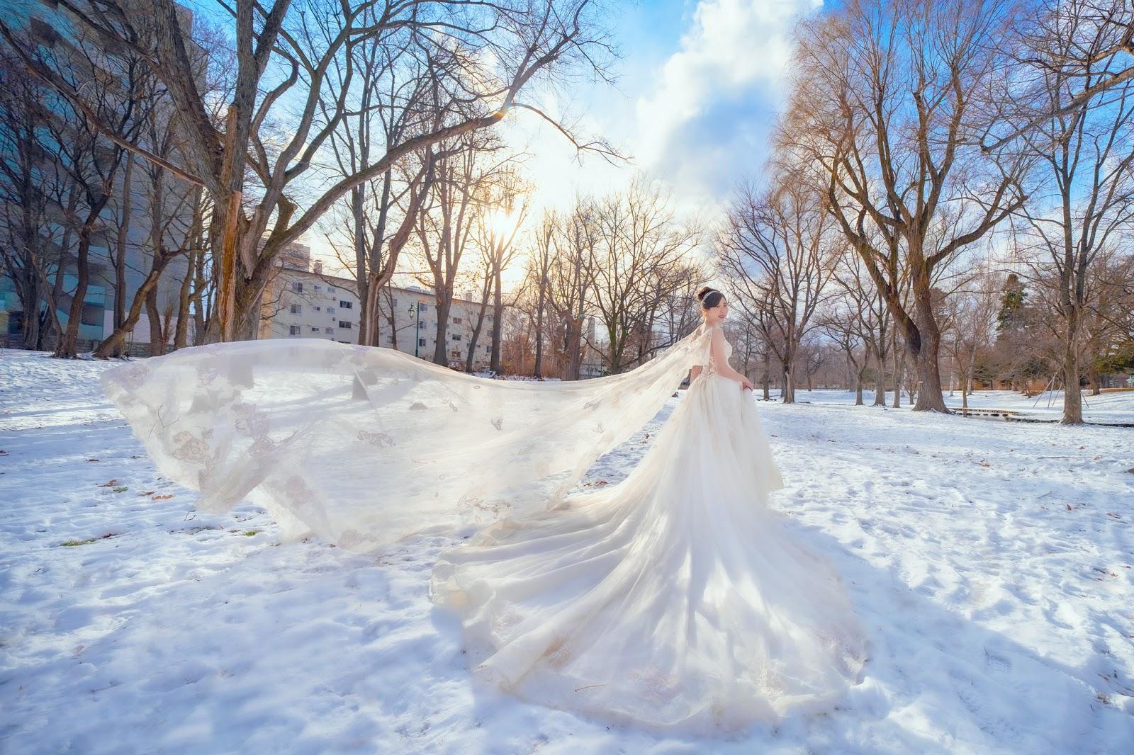 北海道婚紗/日本海外婚紗/下雪/北海道大學/小樽/札幌/雪天使/雪地婚紗/世界最美的北海道雪景婚紗/台北海外婚紗推薦/瑪朵婚紗