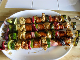 Chicken and Sausage Kabobs with Onion, Peppers, Zucchini, Mushrooms