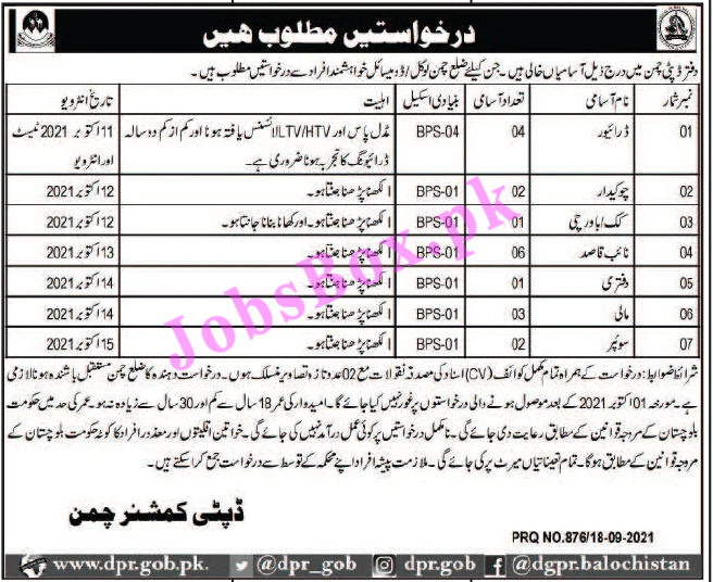 DCO Deputy Commissioner Office Chaman Jobs 2021 in Pakistan