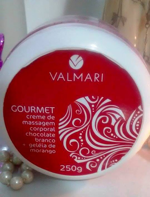 Creme de massagem corporal geléia de morango da Valmari.