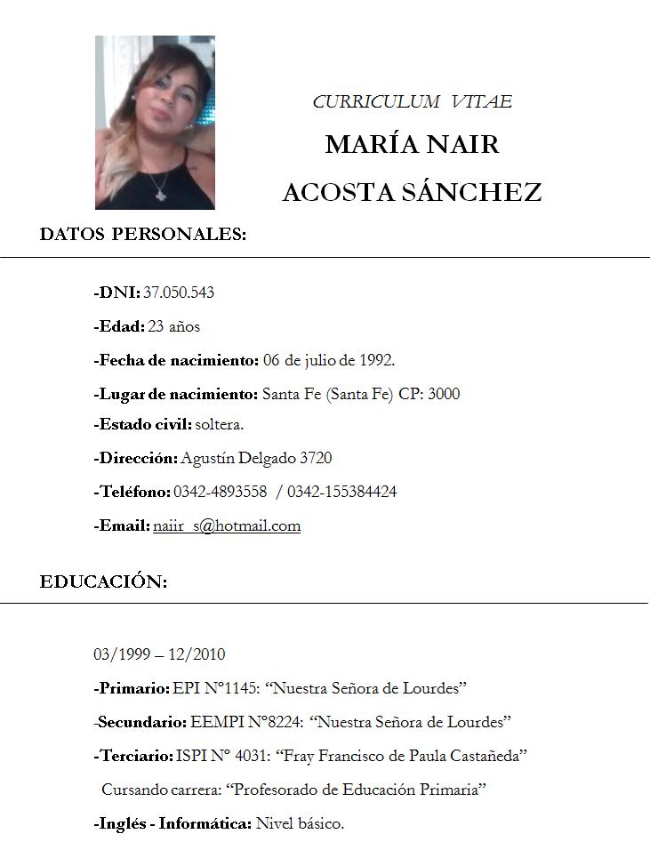 Tecnologia De La Informacion Y La Comunicacion Curriculum Vitae Word