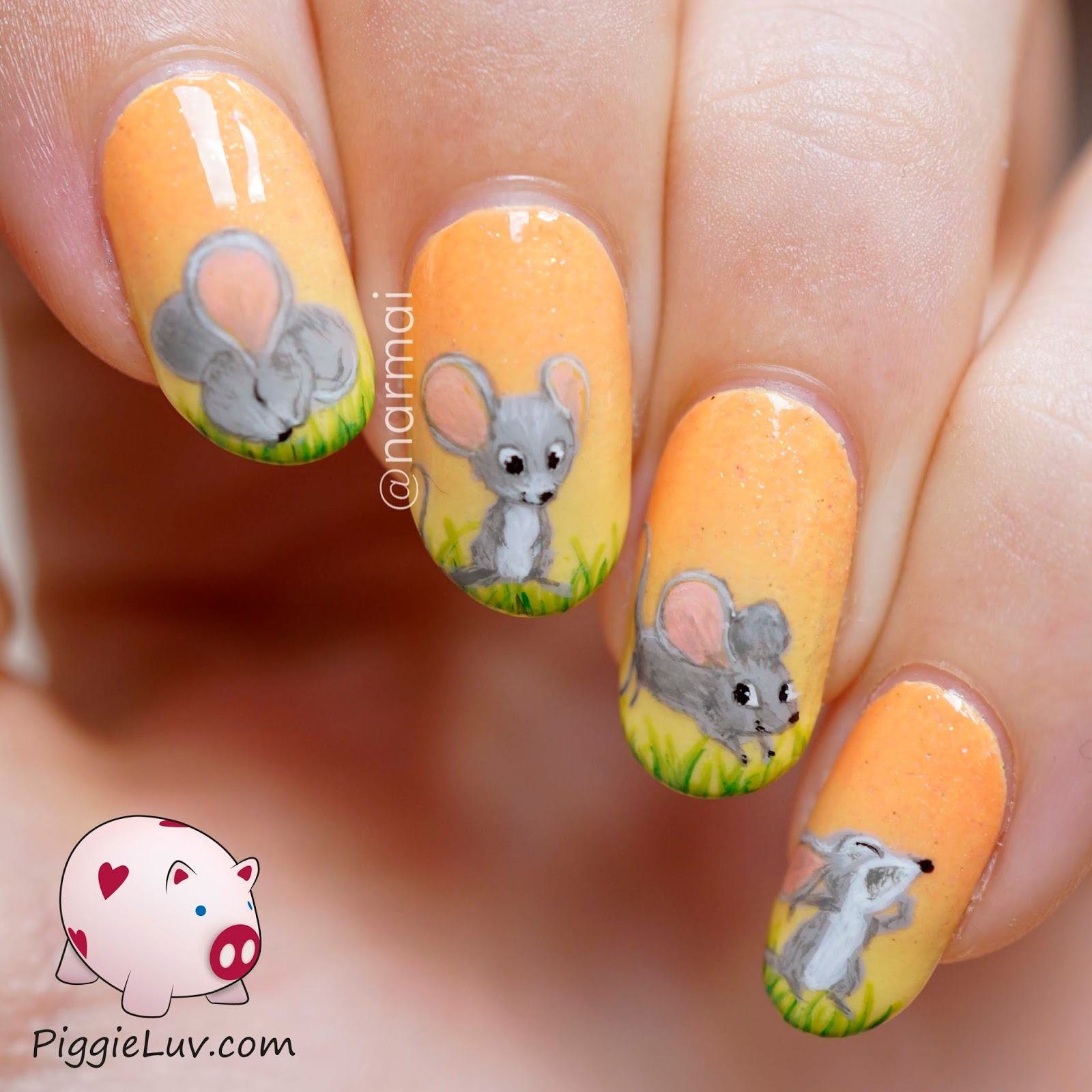 PiggieLuv: Freehand adorable mouse nail art