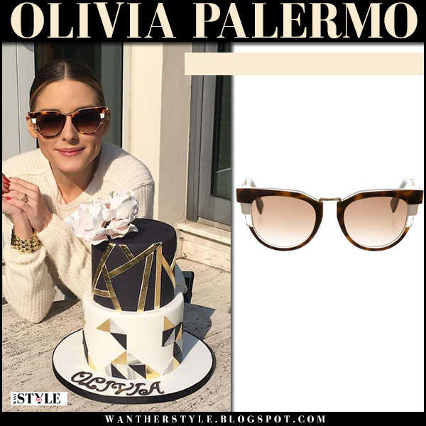 Olivia Palermo with brown Fendi sunglasses what she wore birthday cake instagram