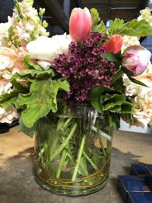 peony, pink stock, tulip, hydrangea arrangement