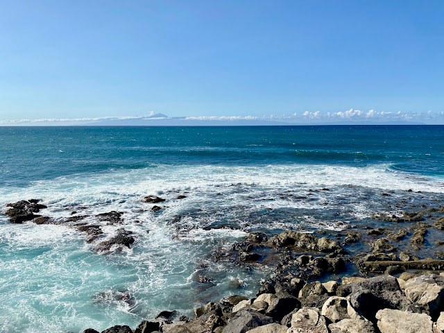 Ocean view with Tenerife and Mount Teide on the horizon, from Agaete, Gran Canaria, Spain