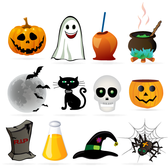 Vector con iconos de Halloween