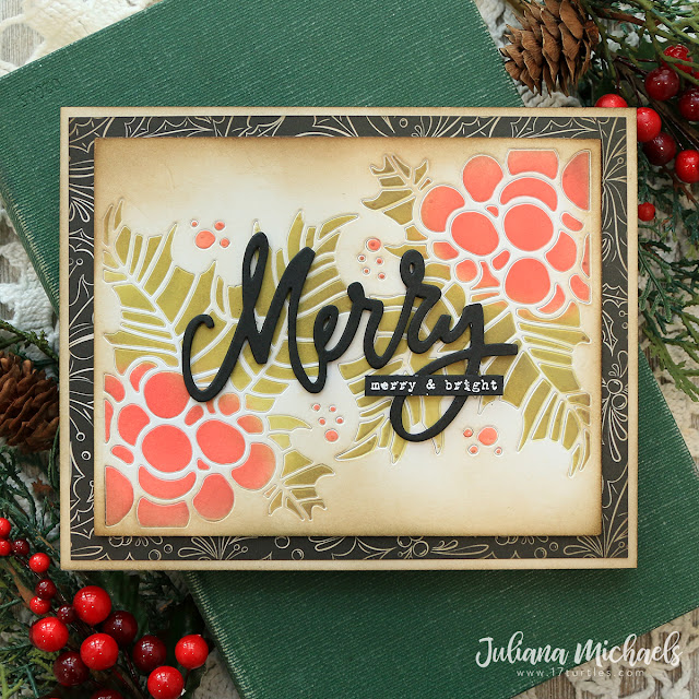 Merry & Bright Card by Juliana Michaels featuring Tim Holtz Sizzix Merry Bright Thinlits and Holly Pieces Thinlits Dies