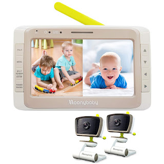 Moonybaby Split 50 Baby Monitor with 2 Cameras and Audio, Non-WiFi, Large Screen with Wide View