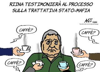 riina, trattativa stato-mafia, testimone, testimonianza, misteri italiani, vignetta, satira