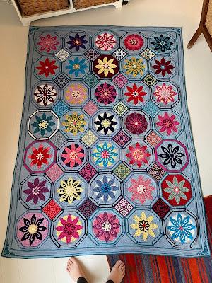 Hæklet tæppe, Fiesta, Tinna, Crochet blanket, Afghan,