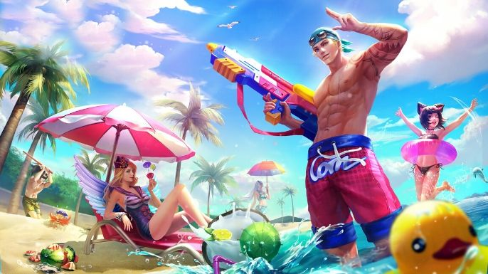 Um papel de parede descontraído do Clint e mais alguns personagens com skins de praia e verão