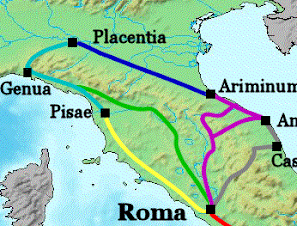 The Via Aemilia is a Roman road linking Piacenza with Rimini