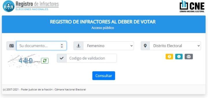 consultar multa en infractores por no votar
