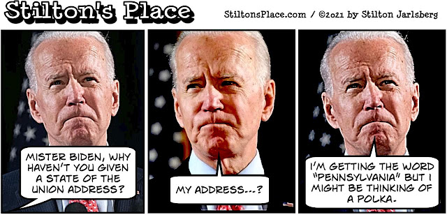 stilton's place, stilton, political, humor, conservative, cartoons, jokes, hope n' change, biden, state of the union, dementia
