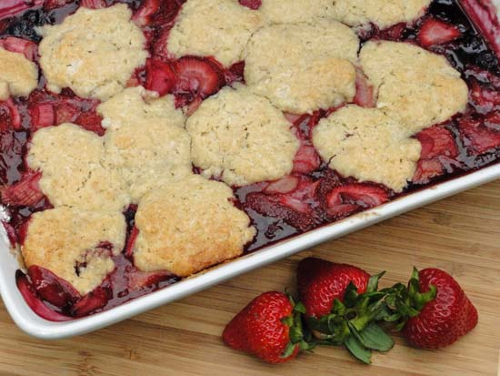 Rhubarb, Strawberry and Blueberry Cobbler