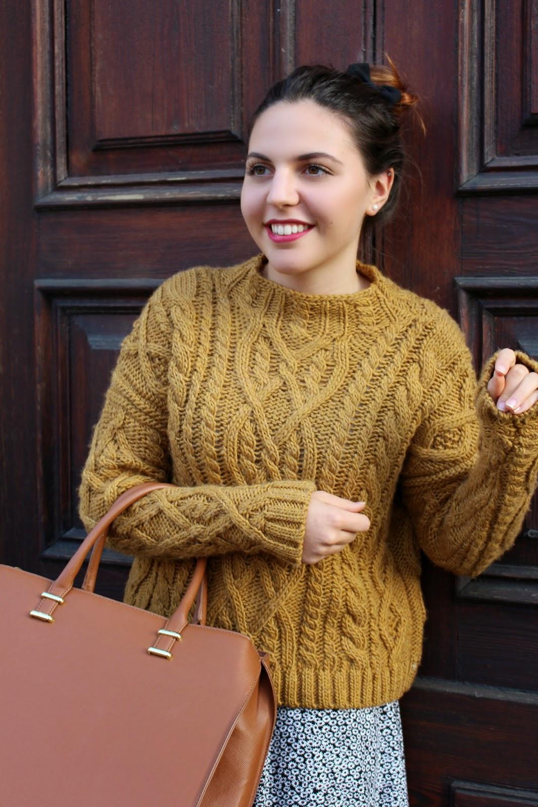 b40d32aad4 ... Black Floral Leather Slap Backpack. Mango Cable-knit Wool-blend Sweater  // Subdued High Waisted Skirt // H&M Handbag // Rimmel Kate Moss Lipstick  n.107