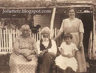 Emma Jollett Coleman, James Franklin Jollett, Minnie Coleman Maiden, Virginia Maiden 1923 https://jollettetc.blogspot.com