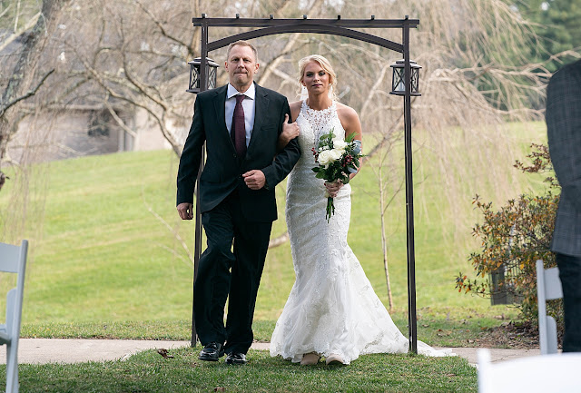 Bride and father walking down aisle Magnolia Farm Asheville Wedding Photography captured by Houghton Photography