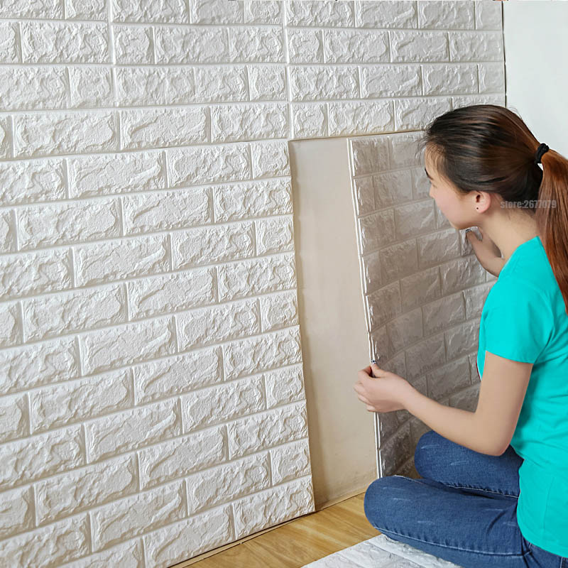 70x77cm PE Foam 3D Wall Stickers Safty Home Decor Wallpaper DIY Wall Decor Brick Living Room