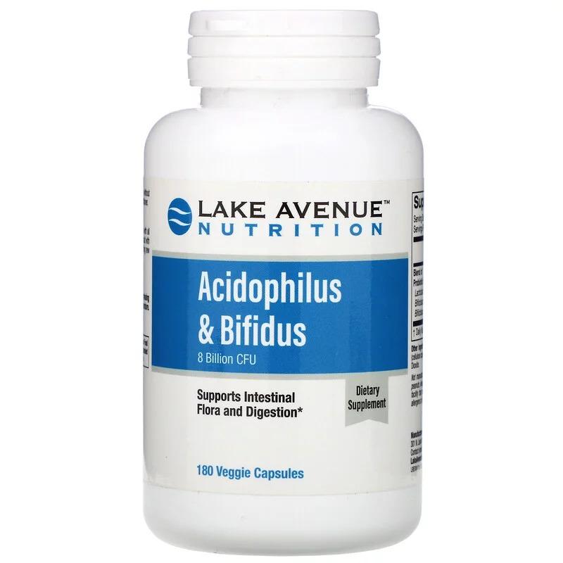 Lake Avenue Nutrition, Пробиотики Acidophilus и Bifidus, 8 млрд КОЕ, 180 растительных капсул