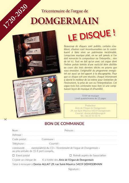 """A ECOUTER : CD """"Tricentenaire de l'orgue de Domgermain"""" par D. Dantand"""