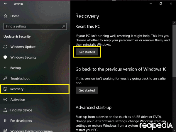 Recovery untuk reset Windows
