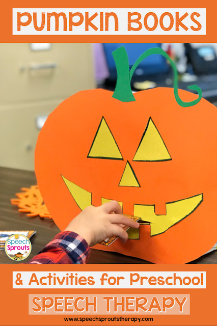 Make this easy feed the pumpkin activity and your preschoolers will be delighted to practice and feed him their cards this fall. #speechsprouts #speechtherapy #speechandlanguage #fall #pumpkins #preschool